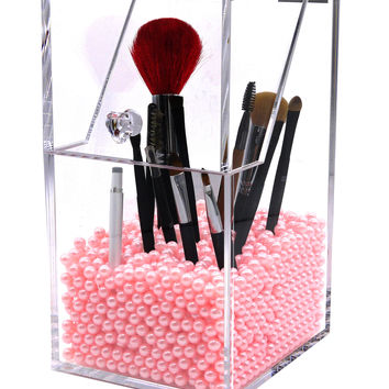 PuTwo Make Up Brush Holder Dustproof Storage Box Premium Quality 5mm Thick Acrylic Makeup Organiser