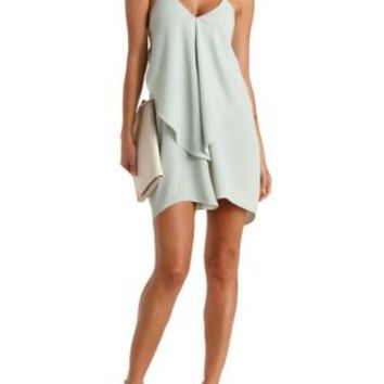 Sage Chain Strap Cascade Shift Dress by Charlotte Russe