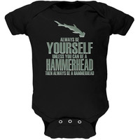 Always Be Yourself Hammerhead Shark Black Soft Baby One Piece