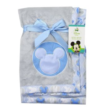 """Mickey Mouse Soft Applique Blanket. Blue. 30"""" x 30"""""""