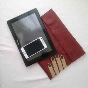 leather tablet case, recycled leather pouch, leather folder, large leather pouch,upcycled leather burgundy red, manbag, tablet, ipad, kindle