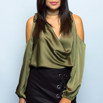 Amy Satin Cold Shoulder Top - Olive