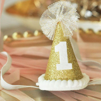 Gold Glitter First Birthday Hat