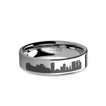 Honolulu City Skyline Cityscape Laser Engraved Tungsten Ring