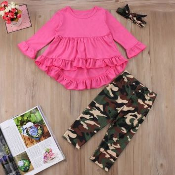 3 pcs Outfit Set - Pink Ruffle Blouse, Camouflage Leggings and Matching Headband