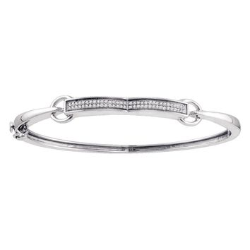 Sterling Silver Womens Round Diamond Single Row Bangle Bracelet 1/5 Cttw