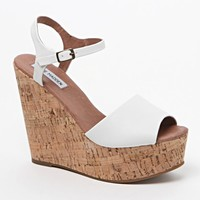 Steve Madden Korkey Wedge Platform Sandals - Womens Sandals - White - 9