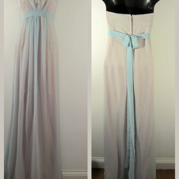 Strapless Blue Gown - Grace Kelly Hollywood Glam - Wedding Prom 80s Vintage - FREE SHIPPING
