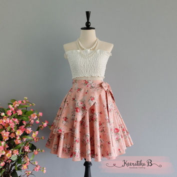 Spring's Whisper Floral Skirt Spring Summer Sweet Pink Nude Floral Skirt Party Cocktail Skirt Wedding Bridesmaid Skirt Pink Floral Skirts