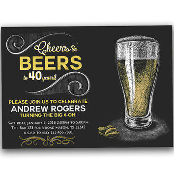 Chalk Cheers Beer Birthday Invitation - Milestone Adult Birthday Party - Alcohol Invitation - Man Birthday - Guys Over The Hill bar