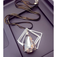 2015 New Arrival Women Pendant Necklaces Large Drops Of Crystal Trapezoidal Long Necklace Pendant Necklace Decoration Personalit