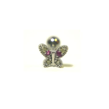 Pink White Tragus Butterfly Piercing 16 gauge