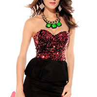 Strapless Peplum Dress with Red Sequined Top