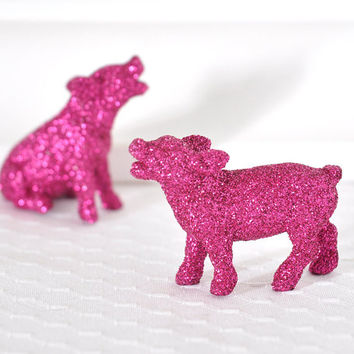 Hot Pink Piglets Nursery Decor Farm House Wedding Table Centerpiece Spring Entertaining Glitter Tablescapes for Birthdays or Showers