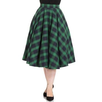 Marienne Green Plaid Circle Skirt