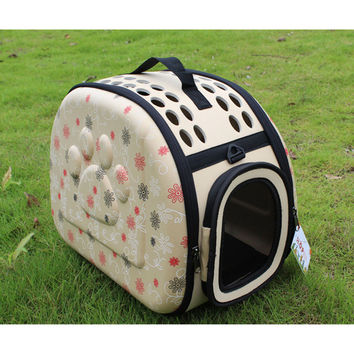 Free shipping breathable pet dog bag foldable bag hand out bags of cat bag backpack portable luggage Teddy   Beige