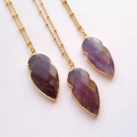 Amethyst Necklace Faceted Amethyst Arrowhead Necklace Gold Edged Amethyst Jewelry Purple Stone Necklace Jewelry February Birthstone Jewelry