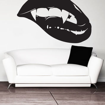 Vinyl Wall Decal Sticker Biting Vampire Lips #5426