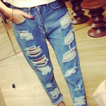 Blue Trouser Washed Hole Low Waist Denim Pencil Pants