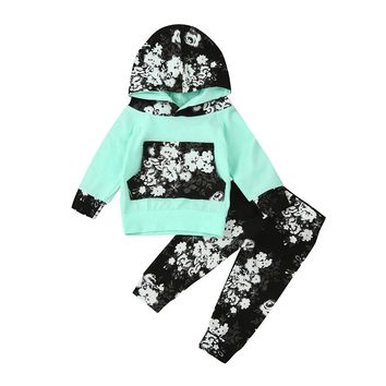 6-24M 2PC Baby Girls Hooded Pullover Long Sleeve Top +Pants