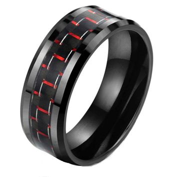 Men's Titanium Steel Carbon Fiber Wedding Ring - 8mm