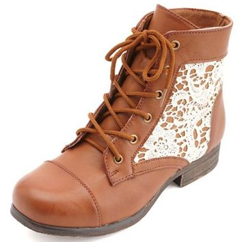 LACE INSET LACE-UP COMBAT BOOTIES