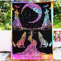 Crying Wolf of The Moon Tie Dye Tapestry Wall Hanging Bohemian Tie Dye Tapestrie