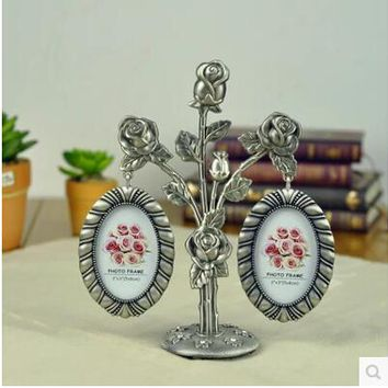 Pewter Family / Baby Home Decoration Photo Frames Tree 2 pictures Vinatge picture frame porta retrato love XC004