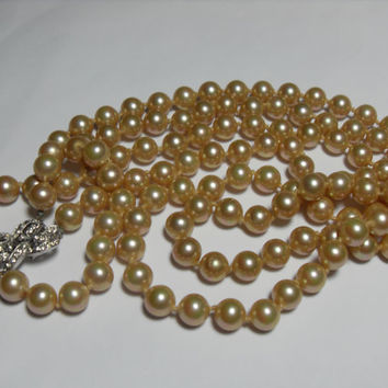 Marvella glass Pearl Necklace, double strand, rhinestone clasp, 20 inches, beige faux pearls, Gifts for her, Gingerslittlegems