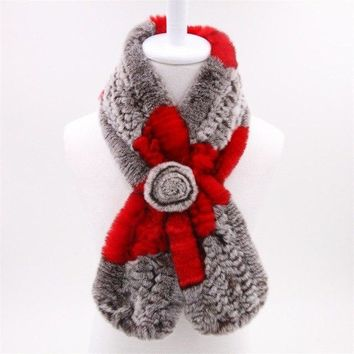 Rabbit Fur Women's Scarf - Light Grey and Red