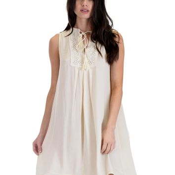 SL4095 Cream Sleeveless Shift Dress With Lace Detail And Tassel Tie