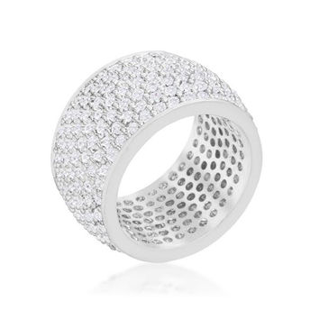 Wide Pave Cubic Zirconia Silvertone Band Ring, size : 09
