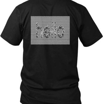 Joy Division Unknown Pleasure Hello Words 2 Sided Black Mens T Shirt