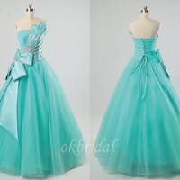 Tiffany blue prom dress, A line prom dress, long prom dress, custom prom dress, cheap prom dress, tulle dress prom, tulle prom dress, RE300