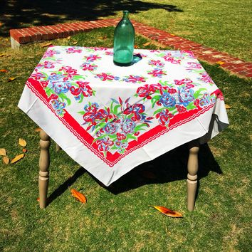 Vintage Tablecloths | Red & Blue Floral