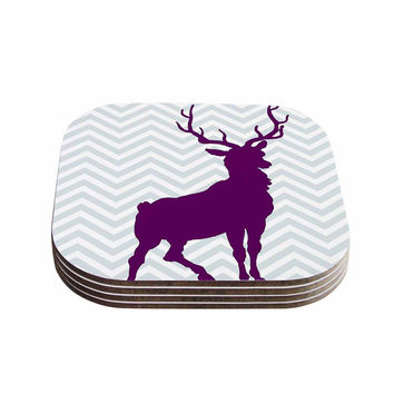 "Suzanne Carter ""Chevron Deer"" Purple  Coasters (Set of 4)"
