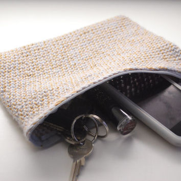 Small Crochet Clutchbag, Make-up bag, phone or small tablette sleeve