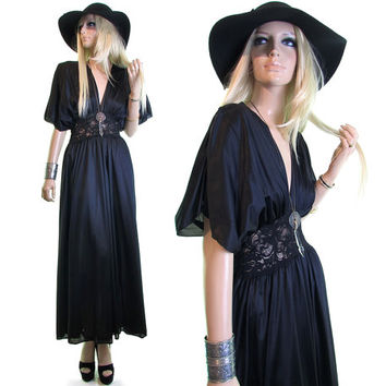 break night black slip dress lace nightgown vtg vintage 90s goth maxi goddess boho sheer lace lingerie gothic long deep plunging neckline s