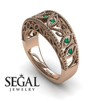 Unique Engagement Ring 14K Red Gold Art Deco Antique Ring Edwardian Ring Filigree Ring Green Emerald With Black Diamond - Avery