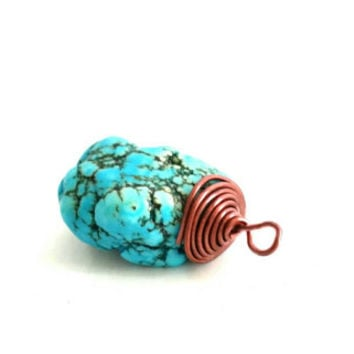 Brass Wire Wrapped Turquoise Pendant, Handmade Artisan Jewelry, Removable Pendant, Turquoise Nugget