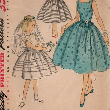 1950s Sewing Pattern Simplicity 4275 Girl's Party Dress Communion Flower Girl Full Circle Skirt Fitted Bodice Size 7