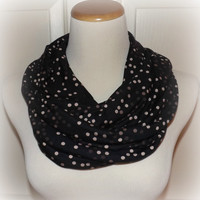 NEW!! Black with Tan, Cream, Beige DOTS Jersey Knit Spandex Infinity Cotton Blend Infinity Scarf Women's Accessories