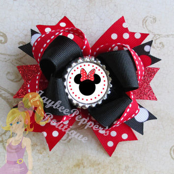 "Minnie Mouse Hair bow Disney headband bottle cap clip over the top boutique girls cute fun summer vacation 4"" and 5"" bows"