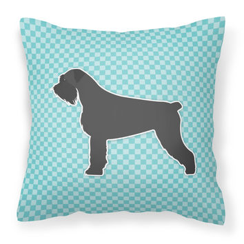 Giant Schnauzer Checkerboard Blue Fabric Decorative Pillow BB3773PW1818