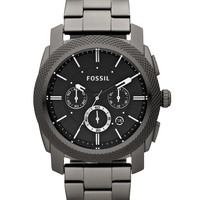 Fossil Men's Chronograph Machine Gray Plated Stainless Steel Bracelet Watch 45mm FS4662