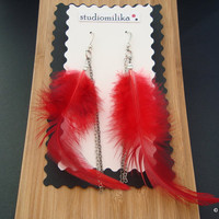 Valentine Earrings, Sexy Gift, Long Earrings, Red Feather Earrings, Red Boho Earrings, Hypoallergenic Earrings, Gift Under 20