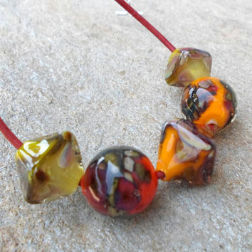 Lampwork Necklace, Bright Autumn Color Large Glass Beaded Necklace, Handmade Artisan Lampwork Jewelry Gift Ideas