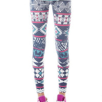 Navy and Neon Tribal Legging