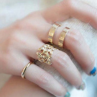 Shiny Stylish New Arrival Gift Korean Accessory Leaf Metal Ladies Jewelry Ring [6573114183]