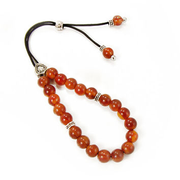 Komboloi, Worry Beads, Red Orange Acrylic Beads & Metal Trangle Shaped Shield Bead